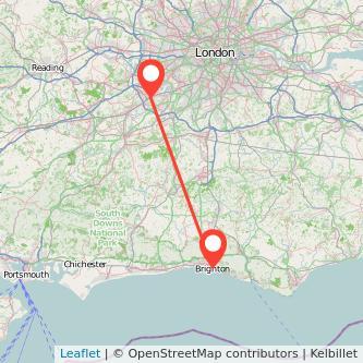 Weybridge Brighton train map