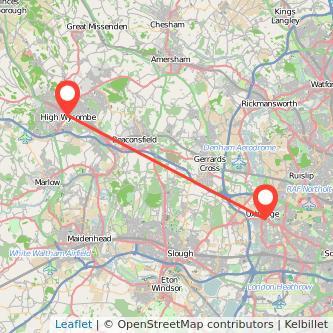 Uxbridge High Wycombe bus map
