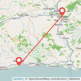 Mapa del viaje Torre del Mar Granada en bus