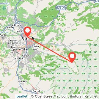 Mapa del viaje Sierra Nevada Granada en bus