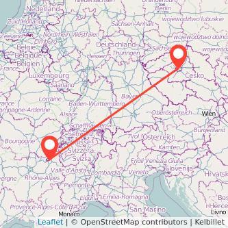 Prague Geneva train map