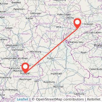 Stuttgart Chemnitz Mitfahrgelegenheit Karte