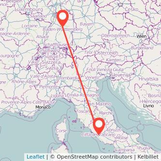 Stuttgart Rom Bahn Karte