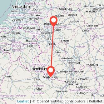 Saarbrücken Bochum Bus Karte