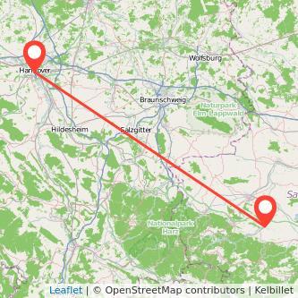 Quedlinburg Hannover Bus Karte