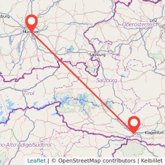München Villach Mitfahrgelegenheit Karte
