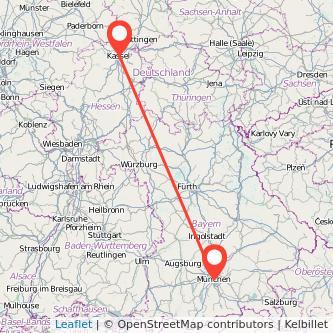 München Kassel Mitfahrgelegenheit Karte