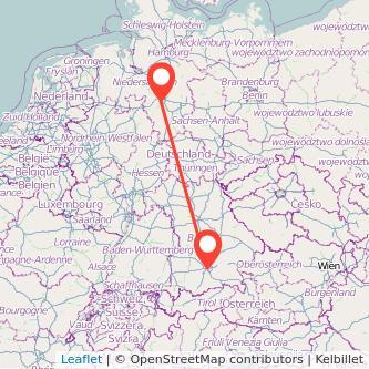 München Hannover Mitfahrgelegenheit Karte