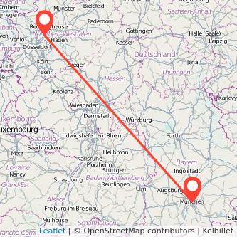 München Essen Mitfahrgelegenheit Karte