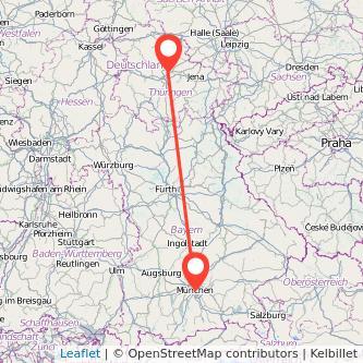 München Erfurt Mitfahrgelegenheit Karte