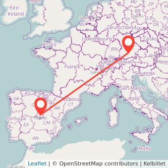 Munich Madrid train map