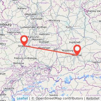 Munich Strasbourg bus map