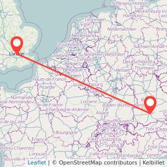 Munich London train map