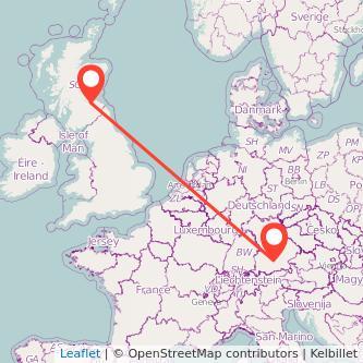 Munich Edinburgh train map