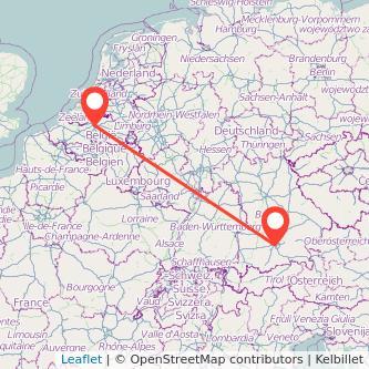 Munich Antwerp train map