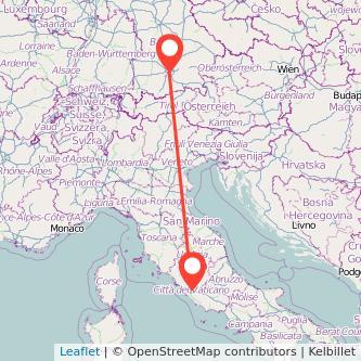 München Rom Bahn Karte