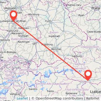 Mannheim Villach Bahn Karte