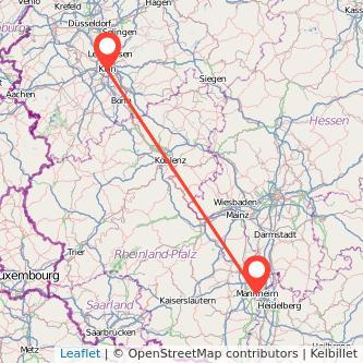 Köln Mannheim Mitfahrgelegenheit Karte