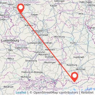 Köln Garmisch-Partenkirchen Bahn Karte