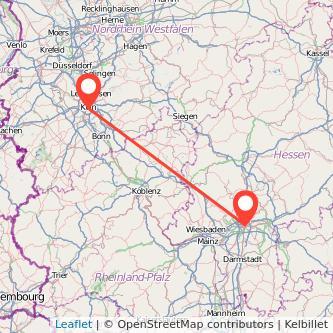 Köln Frankfurt am Main Mitfahrgelegenheit Karte
