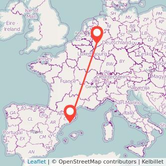 Mapa del viaje Colonia Barcelona en bus