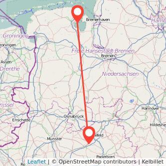 Gütersloh Wilhelmshaven Bus Karte