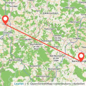 Fulda Bad Königshofen im Grabfeld Bus Karte