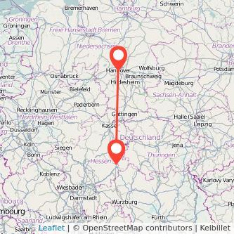 Fulda Hannover Bus Karte