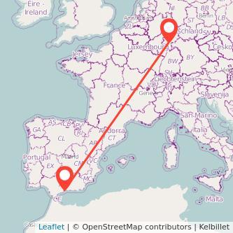 Mapa del viaje Frankfurt Málaga en bus