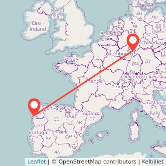 Mapa del viaje Frankfurt Vigo en bus