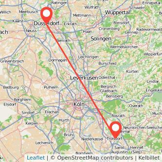 Düsseldorf Troisdorf Mitfahrgelegenheit Karte