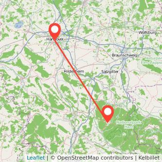 Clausthal-Zellerfeld Hannover Bus Karte