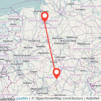 Bremen Fulda Bahn Karte
