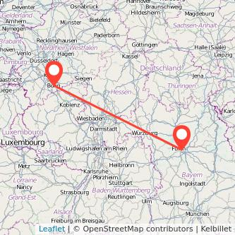 Bonn Nürnberg Mitfahrgelegenheit Karte