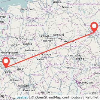 Berlin Cologne train map