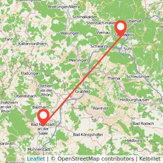 Bad Neustadt an der Saale Zella-Mehlis Bus Karte