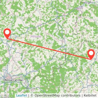 Bad Neustadt an der Saale Gießen Bus Karte