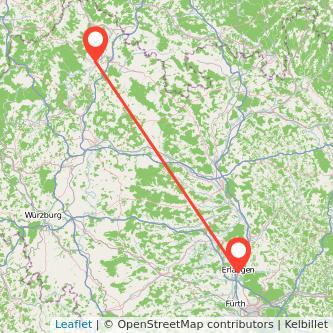 Bad Neustadt an der Saale Erlangen Bus Karte