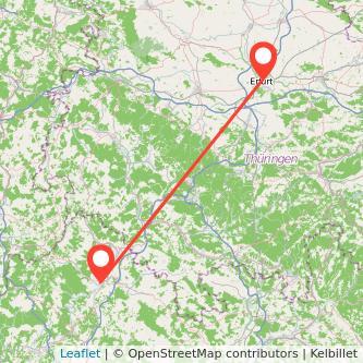 Bad Neustadt an der Saale Erfurt Bus Karte
