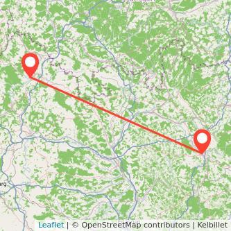 Bad Neustadt an der Saale Bayreuth Bus Karte