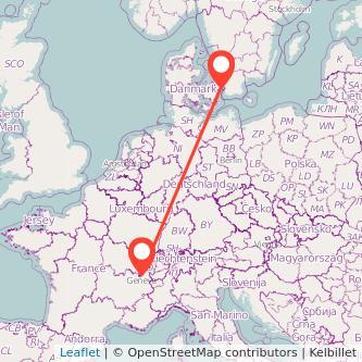 Copenhagen Geneva train map