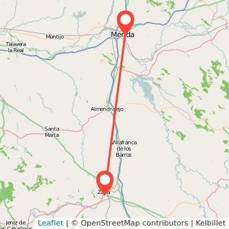 Mapa del viaje Zafra Mérida en bus