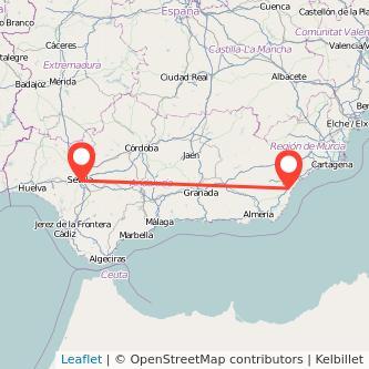 Mapa del viaje Vera Sevilla en bus
