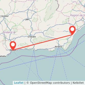 Mapa del viaje Vera Málaga en bus