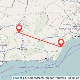 Mapa del viaje Vera Jaén en bus