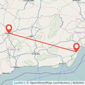 Mapa del viaje Vera Córdoba en bus