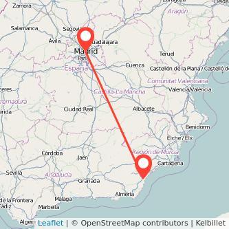 Mapa del viaje Vera Madrid en bus