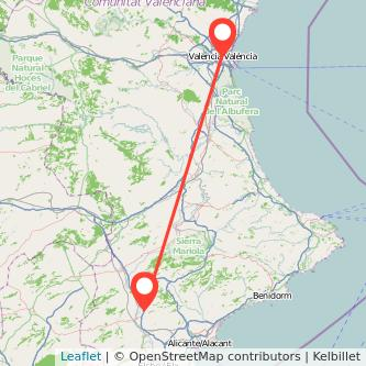 Mapa del viaje Valencia Petrer en bus