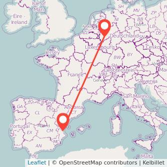 Mapa del viaje Valencia Colonia en tren
