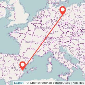 Mapa del viaje Valencia Berlín en tren